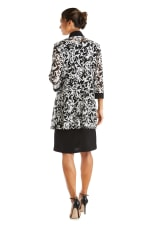Two Piece Puff Print Jacket Dress - Petite - Black / White - Back