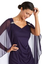 Short Empire Sweetheart Neck Dress with Sheer Cape - Petite - 3