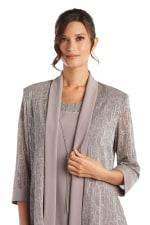 Two-Piece Metallic Knit Jacket Dress -Petite - 9