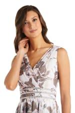 Rhinestone Detail Waist Floral Print Dress  - Petite - 3