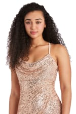Long All Over Sequin Drape Cowl with Adjustable Spaghetti Strap - Petite - 3