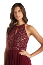 Lace Keyhole Bodice With Tie Back, Banded Waist, And Long Shark Bite Skirt - Petite - 3