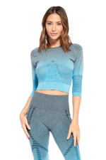 Lexi Long Sleeve Top - Blue - Front