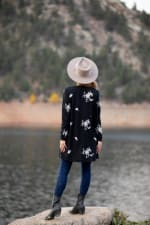 Embroidered V-Neck Hacci Cardigan - Misses - Black/Neutral - Back