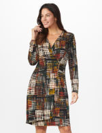 Etched Plaid Wrap Dress - Rust - Front