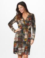 Etched Plaid Wrap Dress - 13