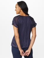 Roz & Ali Petite Dot Bubble Hem Blouse - Navy - Back