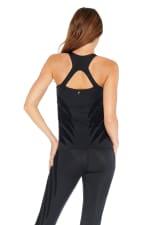 Luxy Velvet Flocked Top - Black - Back