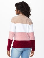 Roz & Ali Chenile Colorblock Pullover Sweater - Mauve Combo - Back