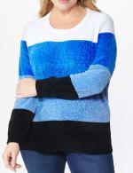 Roz & Ali Chenile Colorblock Pullover Sweater - Plus - 10