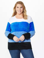Roz & Ali Chenile Colorblock Pullover Sweater - Plus - 12