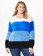 Roz & Ali Chenile Colorblock Pullover Sweater - Plus - 11