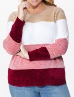 Roz & Ali Chenile Colorblock Pullover Sweater - Plus - 4
