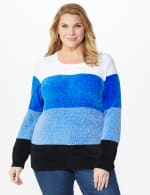 Roz & Ali Chenile Colorblock Pullover Sweater - Plus - Denim Combo - Front