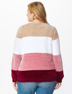 Roz & Ali Chenile Colorblock Pullover Sweater - Plus - Mauve Combo - Back