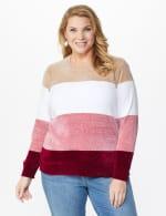 Roz & Ali Chenile Colorblock Pullover Sweater - Plus - Mauve Combo - Front