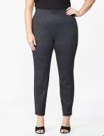 Plus Printed Ponte Pull On Legging with Interior Elastic Waistband - Houndstooth - Front