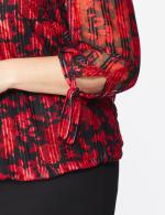 Roz & Ali Red Floral Tie Sleeve Bubble Hem Blouse - Plus - 5