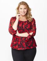 Roz & Ali Red Floral Tie Sleeve Bubble Hem Blouse - Plus - 7
