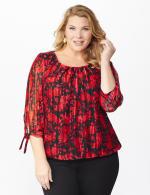 Roz & Ali Red Floral Tie Sleeve Bubble Hem Blouse - Plus - 6