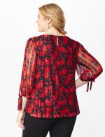 Roz & Ali Red Floral Tie Sleeve Bubble Hem Blouse - Plus - 2