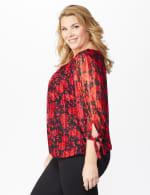 Roz & Ali Red Floral Tie Sleeve Bubble Hem Blouse - Plus - 4