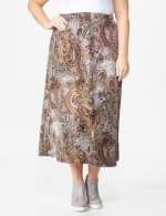 Plus Roz & Ali Printed Hacci A-Line Maxi Skirt - Brown/gold/black - Front