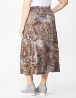 Plus Roz & Ali Printed Hacci A-Line Maxi Skirt - Brown/gold/black - Back