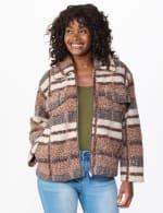 Plaid Zip Front Faux Sherpa Jacket - 5