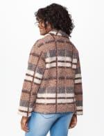 Plaid Zip Front Faux Sherpa Jacket - Brown plaid - Back