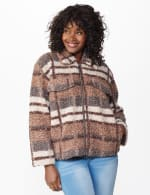 Plaid Zip Front Faux Sherpa Jacket - Brown plaid - Front