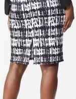 Printed Scuba Crepe Pencil Skirt - 5