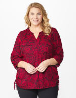 Roz & Ali Red Floral Side Tie Popover Blouse - Red/Black - Front