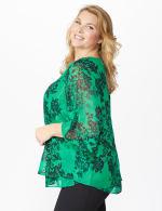 Roz & Ali Green Lurex Floral Flyaway Blouse - Plus - 4