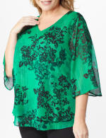 Roz & Ali Green Lurex Floral Flyaway Blouse - Plus - 5
