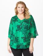 Roz & Ali Green Lurex Floral Flyaway Blouse - Plus - 6