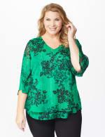 Roz & Ali Green Lurex Floral Flyaway Blouse - Plus - 7