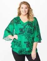 Roz & Ali Green Lurex Floral Flyaway Blouse - Plus - Green - Front