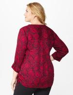 Roz & Ali Red Floral Side Tie Popover Blouse - Red/Black - Back