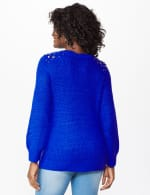 Westport Scallop Neck Jewel Pullover - Royal - Back