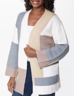 Westport Color Block Cardigan - Neutral Combo - Detail