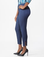 Roz & Ali Superstretch Pull On Ankle Pants with Rhinestone Ring Detail - Dark Denim - Front