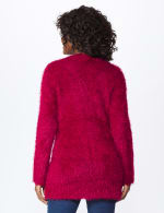 Westport Eyelash Duster Cardigan - Wine - Back
