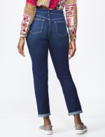 Westport Girlfriend/Boyfriend 5 Pocket Jean with Double Rolled Cuff - Dark Wash - Back