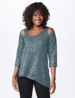 Roz & Ali Cold Shoulder Sequin Tunic Knit Top - Misses - Grey - Front