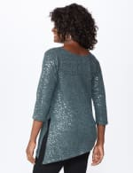 Roz & Ali Cold Shoulder Sequin Tunic Knit Top - Misses - Grey - Back