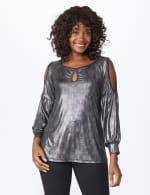 Roz & Ali Cold Shoulder Metallic Knit Top - 6