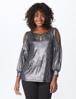 Roz & Ali Cold Shoulder Metallic Knit Top - Silver/Black - Front