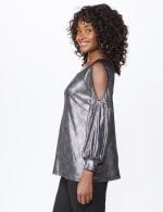 Roz & Ali Cold Shoulder Metallic Knit Top - 4