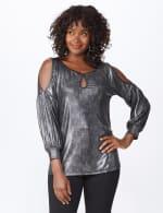 Roz & Ali Cold Shoulder Metallic Knit Top - 7